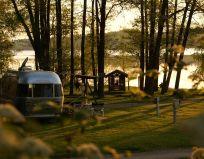 Camping Stein Sonnenuntergang am Spielplatz